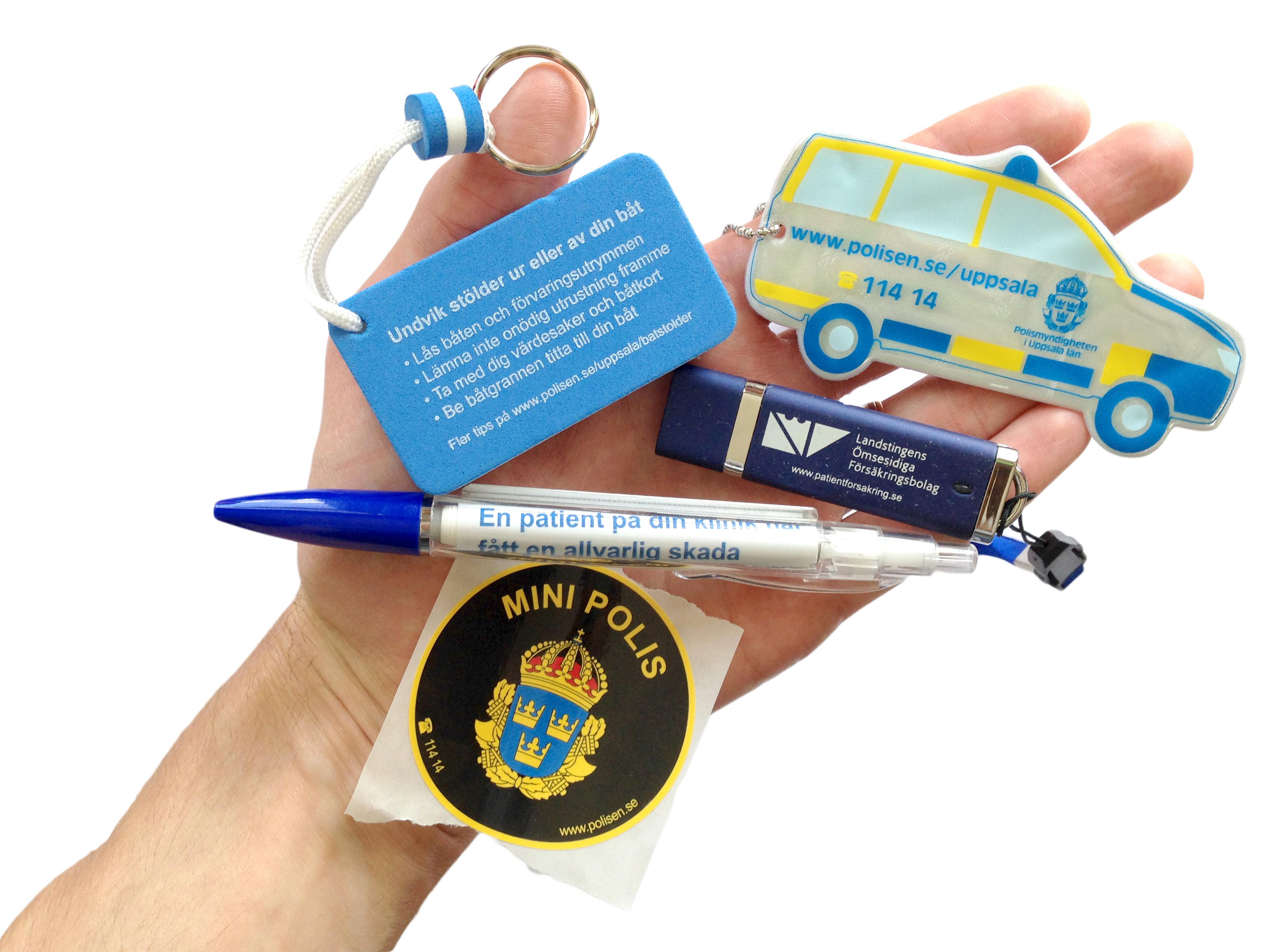 PR-artiklar, reflex, penna, USB-minne, klistermärke