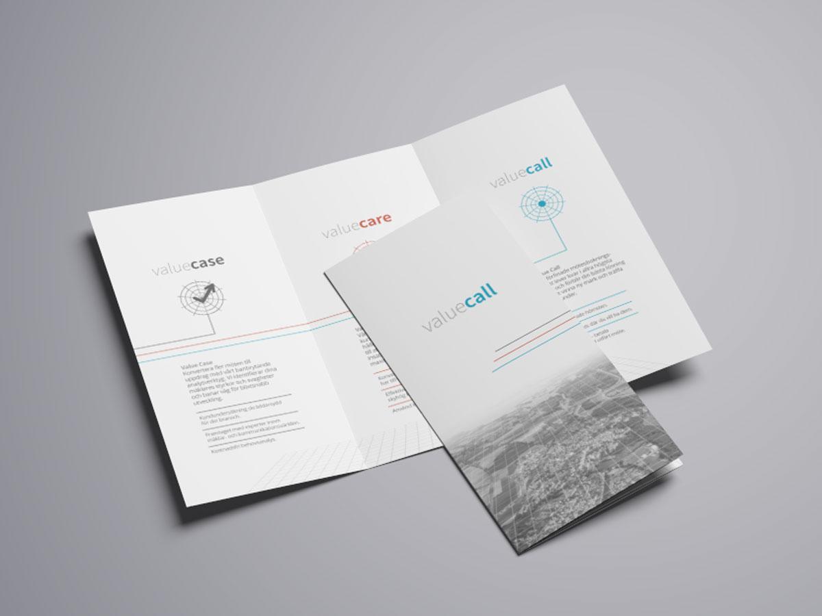 Folder trycksak Valuecall Designkoncept
