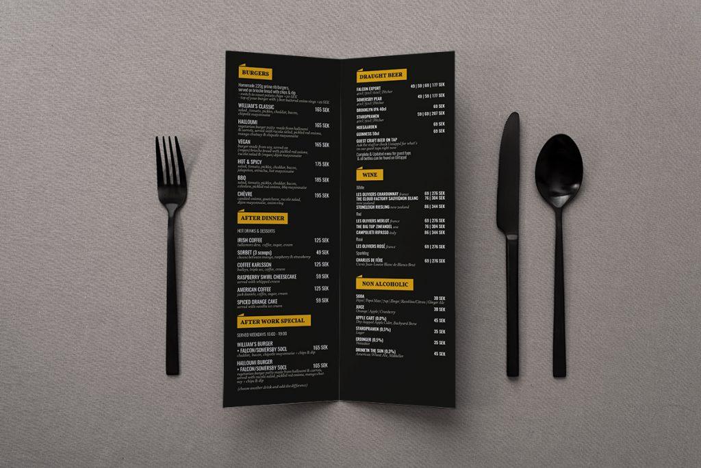 Formgivning design meny restaurang